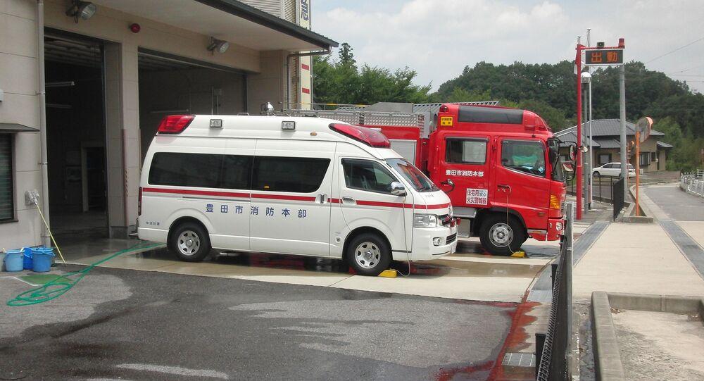 Ambulance and fire truck. Japan