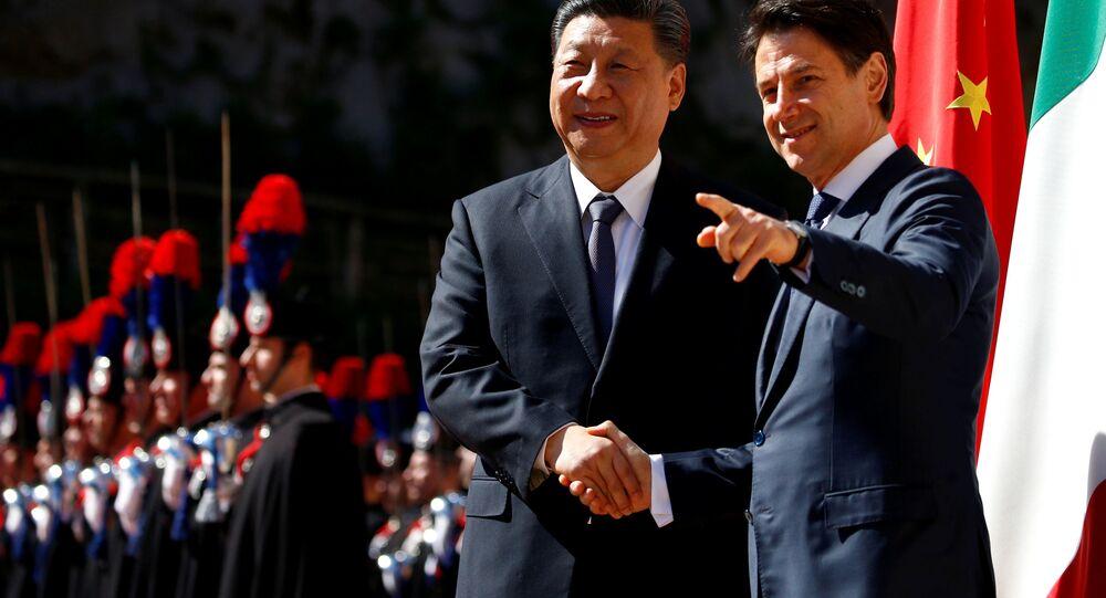 Il premier italiano Giuseppe Conte e il Presidente della Repubblica popolare cinese Xi Jinping a Roma