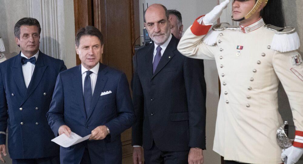 Il Presidente del Consiglio incaricato Prof. Giuseppe Conte,al termine dell'incontro con il Presidente Sergio Mattarella