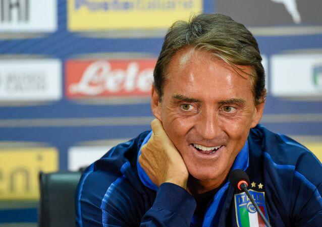 C.T. della Nazionale Italiana Roberto Mancini in conferenza pre partitta a Yerevan