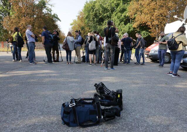 Giornalisti all'aeroporto Borispol
