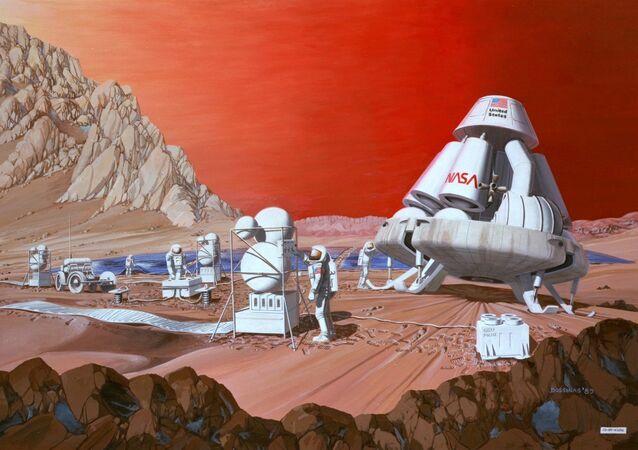 Disegno degli astronauti su Marte