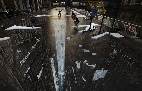 Il disegno 3D più lungo mai fatto di 105 metri, si trova a Londra.  - Sputnik Italia