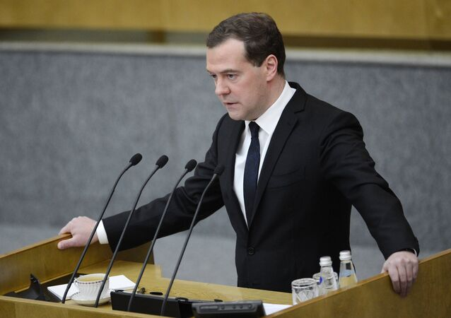 Primo ministro russo Dmitry Medvedev