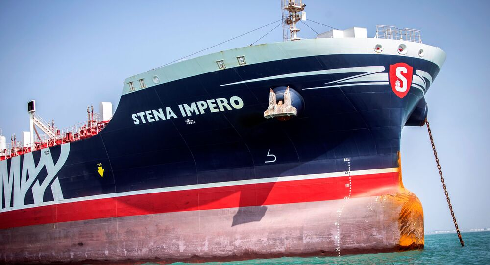 Stena Impero, a British-flagged vessel owned by Stena Bulk, is seen at undisclosed place off the coast of Bandar Abbas, Iran August 22, 2019
