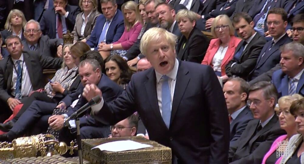 Britain's Prime Minister Boris Johnson speaks after Britain's parliament voted on whether to hold an early general election, in Parliament in London, Britain, September 10, 2019, in this still image taken from Parliament TV footage