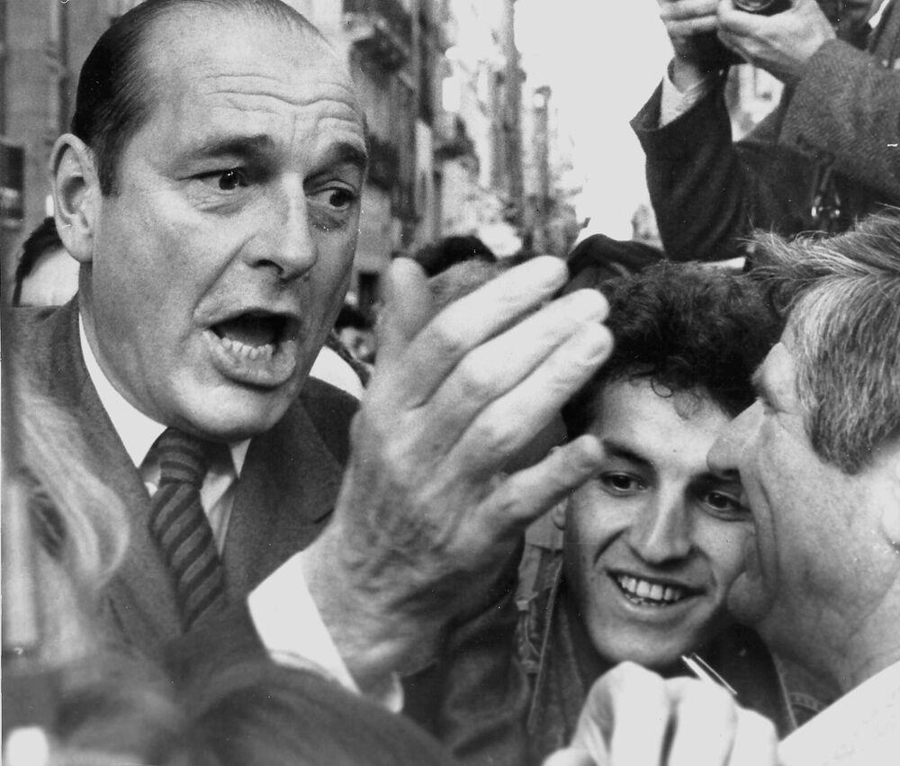 Il premier francese Jacques Chirac a Bordeaux l'11 marzo 1988.