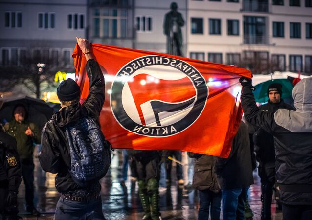 AntiFa movement protest in in Mainz, Germany.