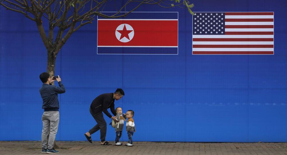Bandiere degli Usa e Corea del Nord
