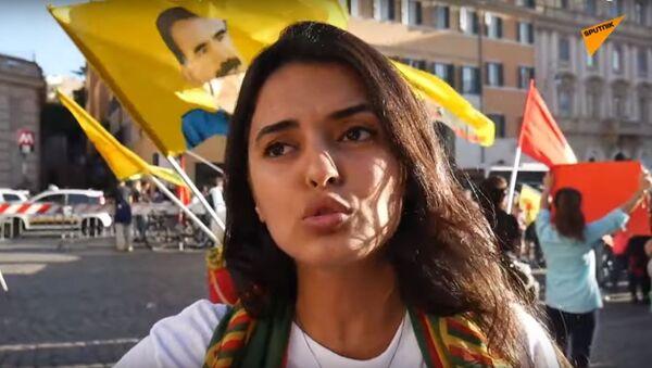 Italia: curdi in strada a Roma contro l'operazione turca in Siria settentrionale - Sputnik Italia