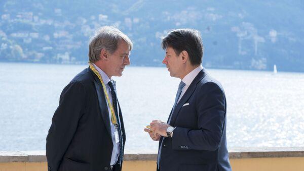 Cernobbio, 12/10/2019 - Il Presidente del Consiglio, Giuseppe Conte, con il Presidente del Parlamento europeo, David Sassoli. - Sputnik Italia