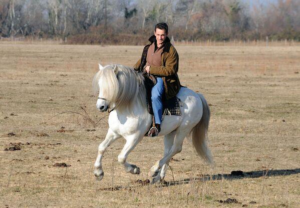 Il presidente francese Nicolas Sarkozy cavalca nel ranch di Mas du Juge a Saint-Marie-de-la-Mer nel sud della Francia - Sputnik Italia