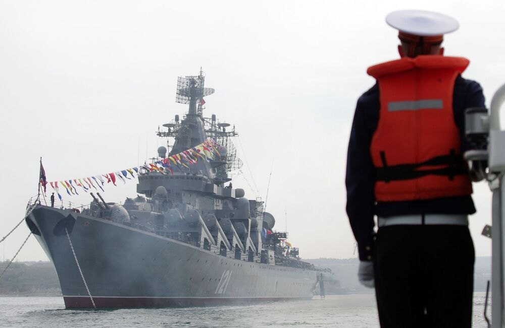 L'incrociatore missilistico Moskva della flotta del Mar Nero russa.