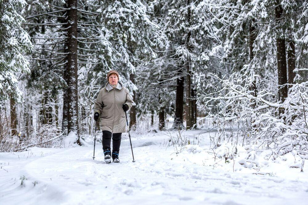 Una donna fa nordic walking nel parco Isola degli scoiattoli a Petrozavodsk, Russia