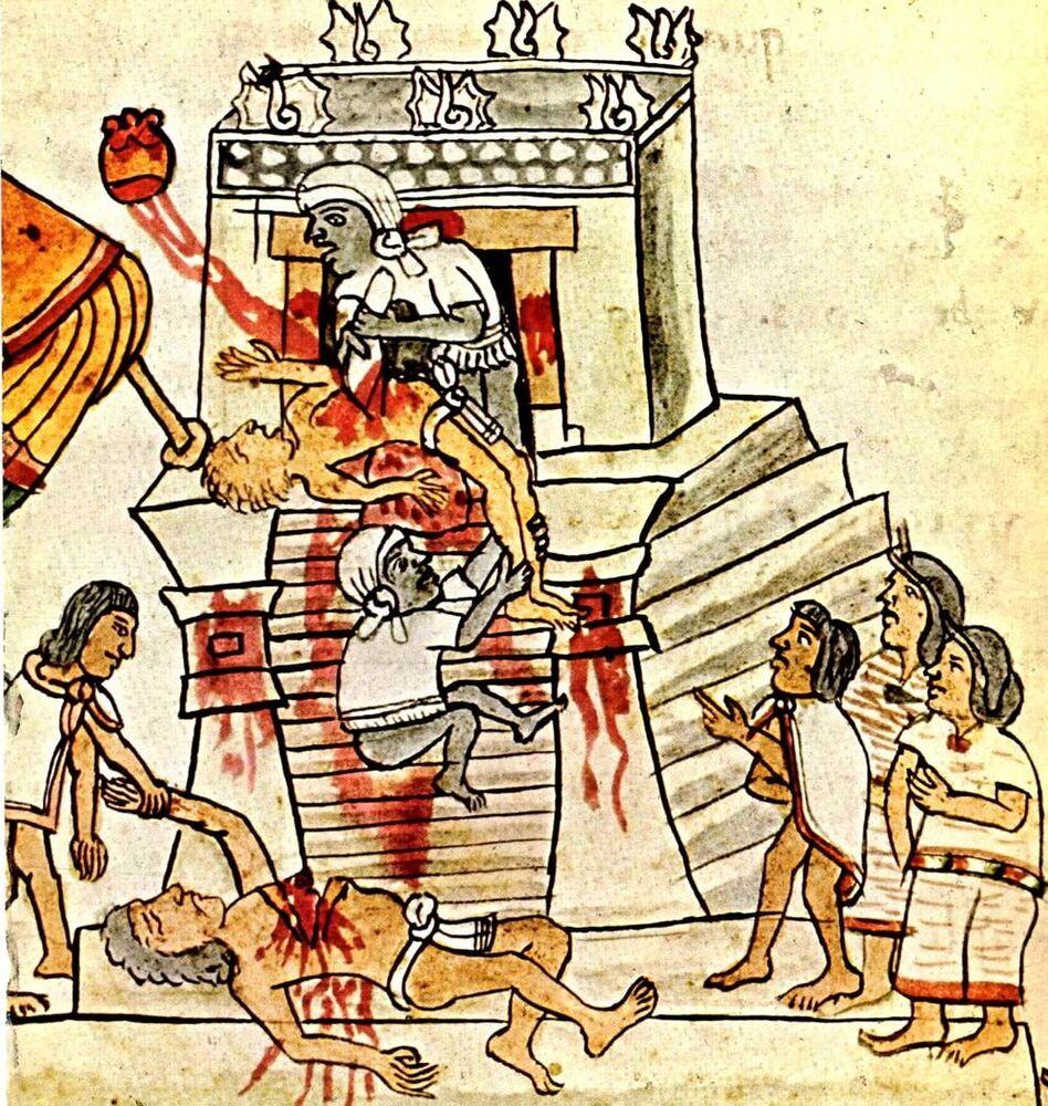 Sacrificio umano dipinto nel Codice Magliabechiano, codice azteco illustrativo creato a metà del XVI secolo