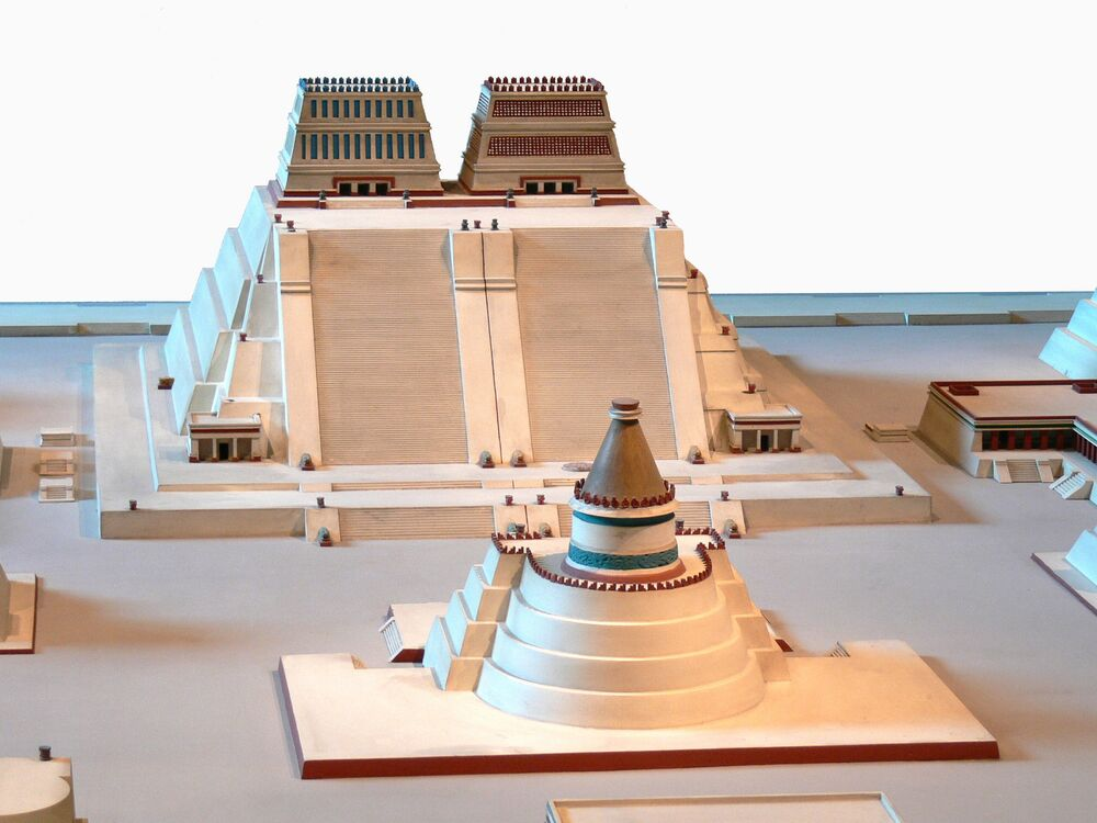 Un modello della Piramide di Huitzilopochtli, Museo Nazionale di Antropologia a Città del Messico