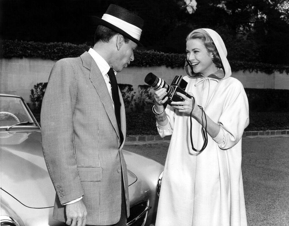 Grace Kelly e Frank Sinatra sul set del film Alta società, 1956