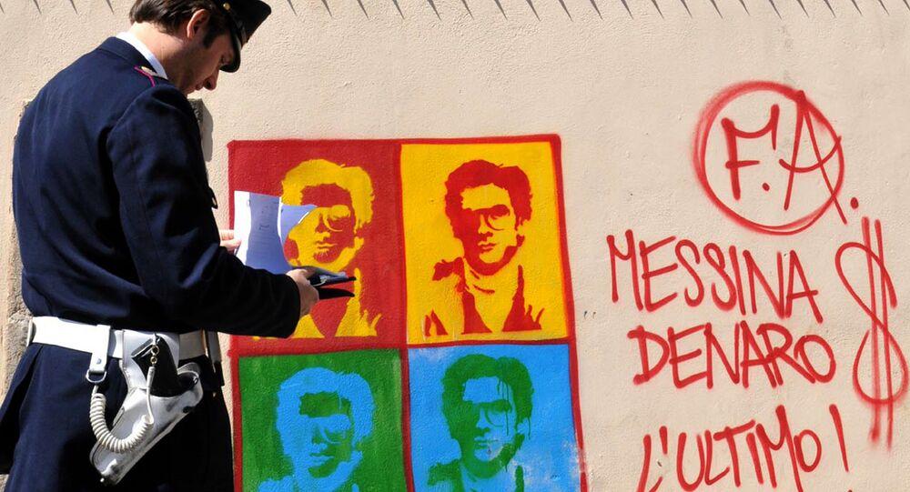 Murales con l'immagine del boss latitante Matteo Messina Denaro