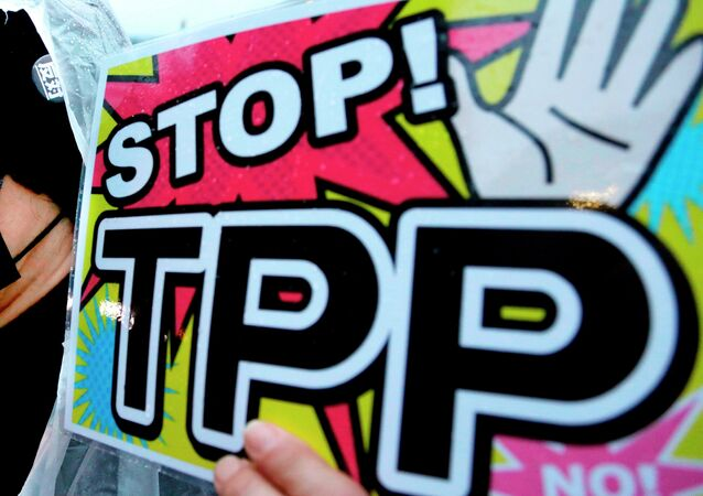 A placard during a rally against the Trans-Pacific Partnership (TPP)