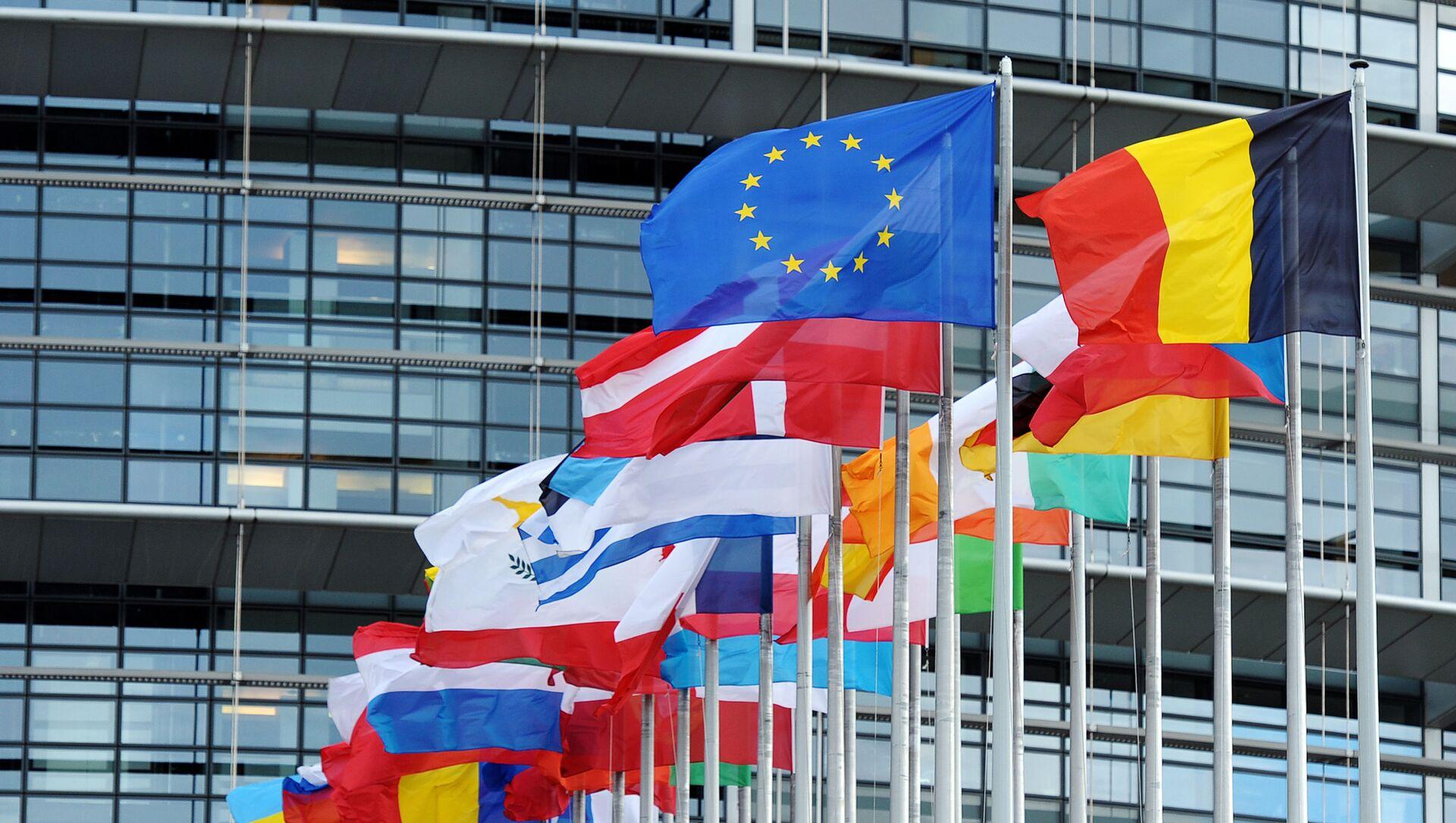 Le bandiere dell'UE e dei paesi membri di fronte al Parlamento Europeo - Sputnik Italia, 1920, 28.04.2021