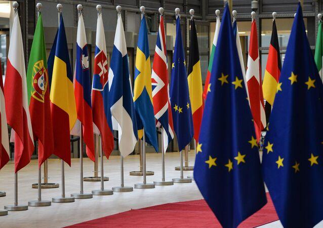 Le bandiere dell'UE e dei paesi membri