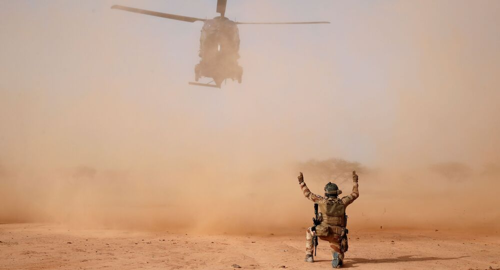 An NH90 Caiman military helicopter lands next to a temporary forward operating base (TFOB) during Operation Barkhane in Ndaki, Mali, July 29, 2019