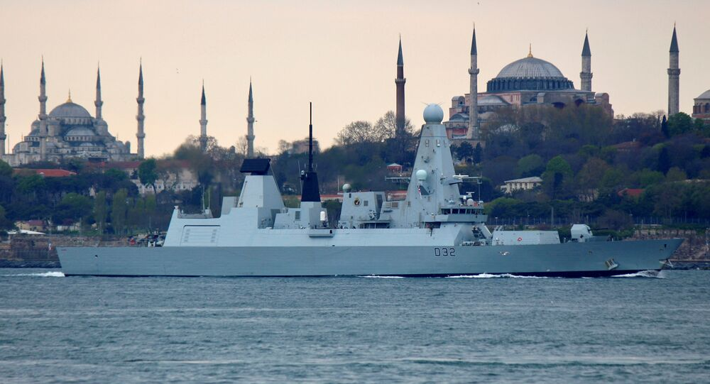 British Royal Navy destroyer HMS Daring sets sail on its way to the Black Sea, in Istanbul, Turkey, April 24, 2017
