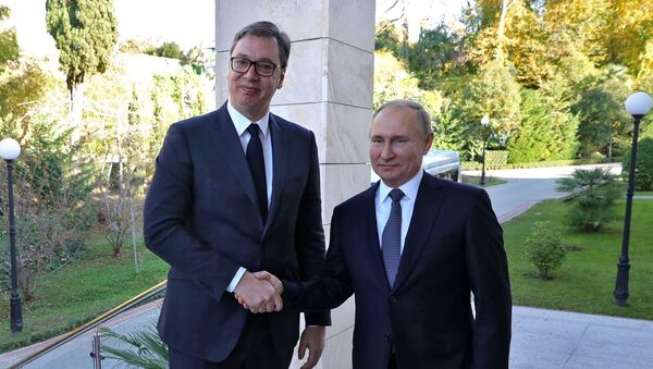 L'incontro tra Vladimir Putin e Aleksandar Vucic a Sochi, il 4 dicembre del 2019 - Sputnik Italia