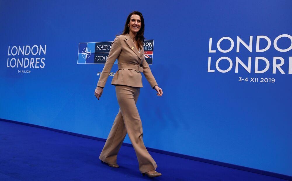 La premier del Belgio Sophie Wilmes arriva per il vertice dei leader della NATO a Watford, in Gran Bretagna, il 4 dicembre 2019