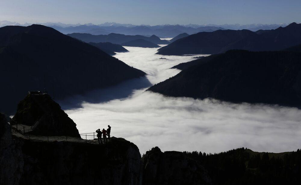 La vista dalla vetta del monte Wendelstein (1.838 metri) in Germania