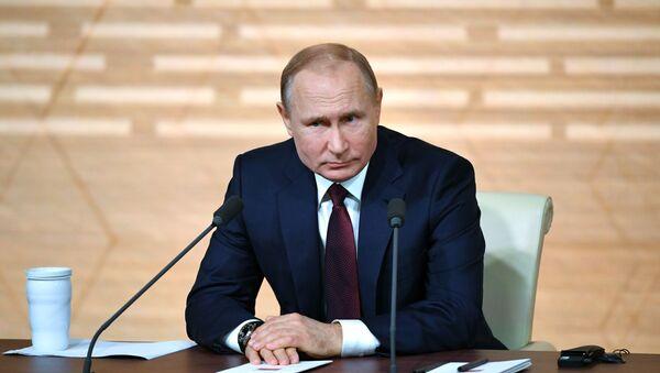 La grande conferenza stampa di fine anno del presidente russo Vladimir Putin, il 19 dicembre 2019 - Sputnik Italia