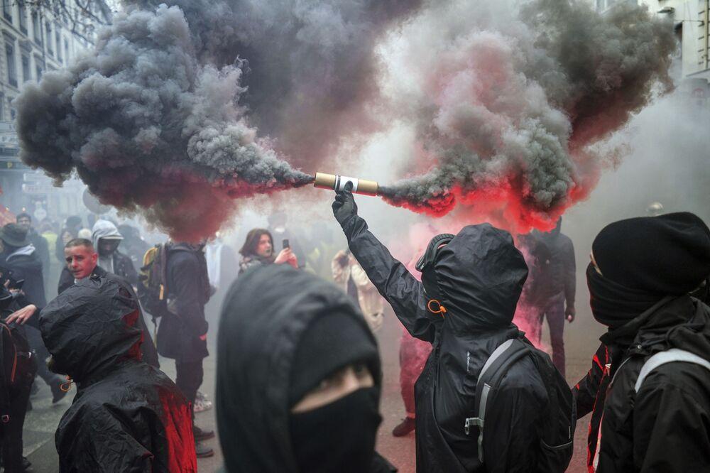Le manifestazioni a Lione, Francia, il 17 dicembre 2019