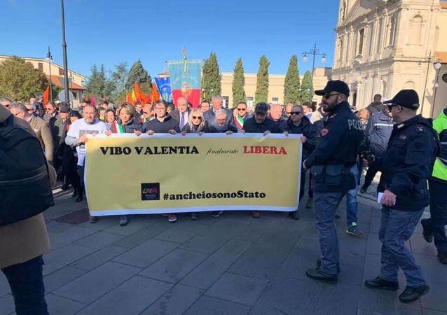 Manifestazione antimafia organizzata da associazione Libera #ancheiosonostato