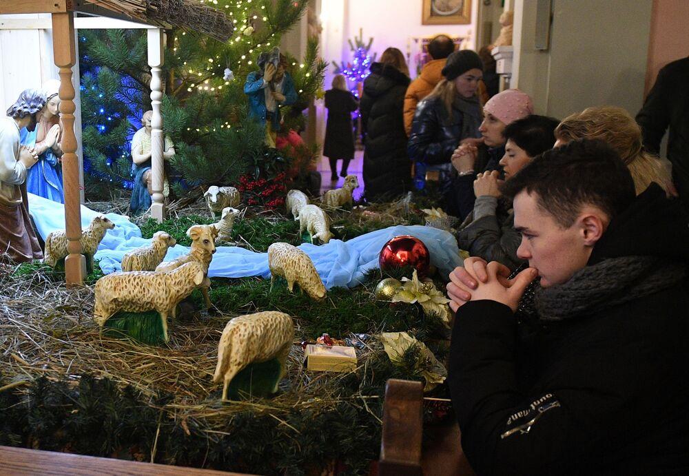 Una messa di Natale in Bielorussia.