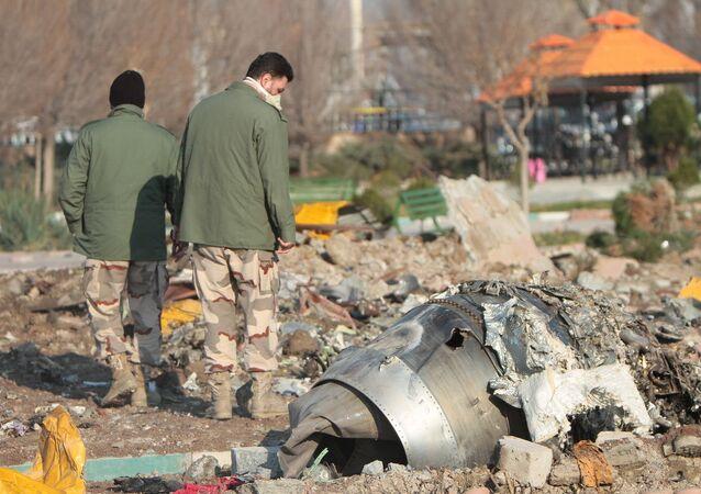 Il luogo dello schianto del Boeing 737 ucraino in Iran