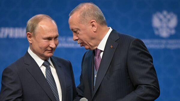 Vladimir Putin e Recep Erdogan alla ceremonia di apertura di Turkish Stream - Sputnik Italia