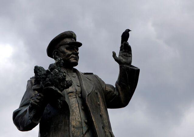 Monumento a maresciallo Konev (foto d'archivio)