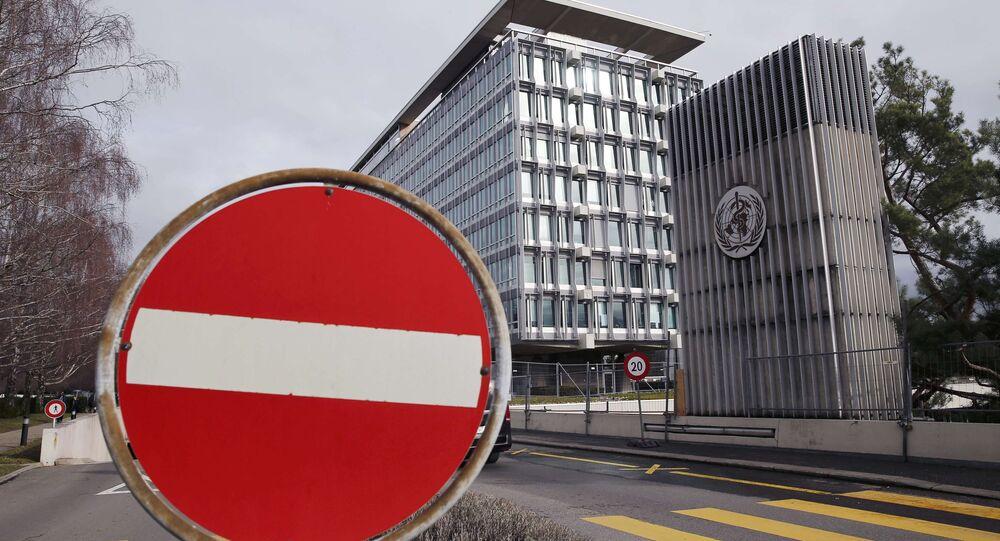 Vista della sede generale dell'Organizzazione mondiale della sanità (OMS) a Ginevra, Svizzera, 1 febbraio 2016