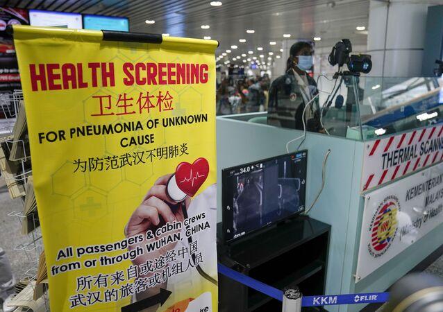 Ispezione a causa della quarantena all'aeroporto di Sepang, gennaio 21 del 2020