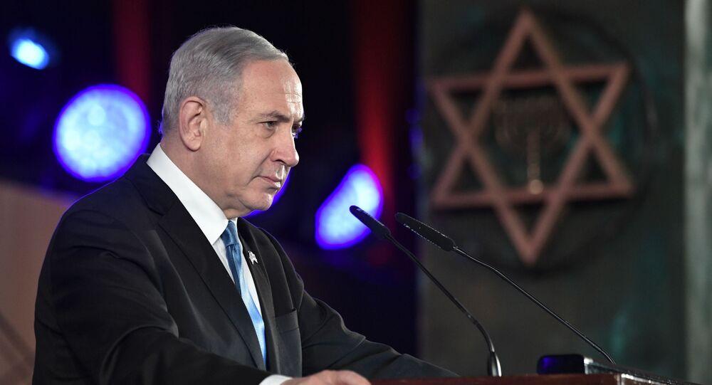 Il primo ministro di Israele Benjamin Netanyahu a Gerusalemme per il Forum sull'Olocausto, 23 gennaio 2020