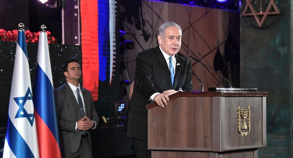 Il primo ministro di Israele Benjamin Netanyahu a Gerusalemme al Forum sull'Olocausto, 23 gennaio 2020