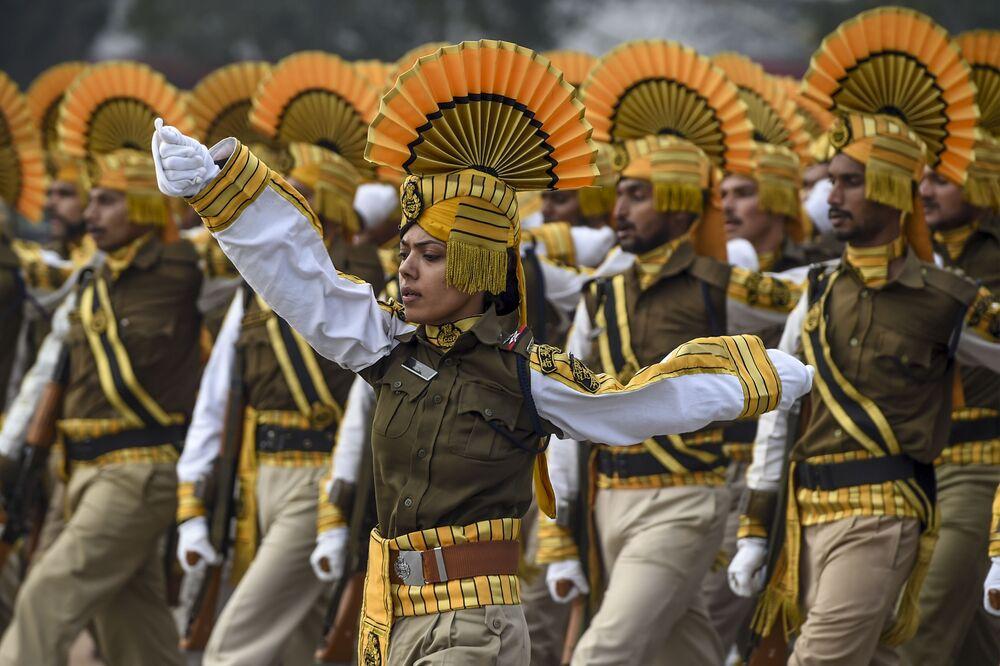 I soldati indiani alla Parata in occasione della Festa della Repubblica.