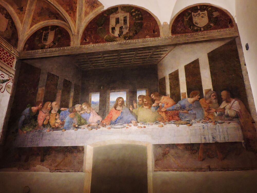 L'affresco Il Cenacolo di Leonardo da Vinci al santuario di Santa Maria delle Grazie a Milano, Italia