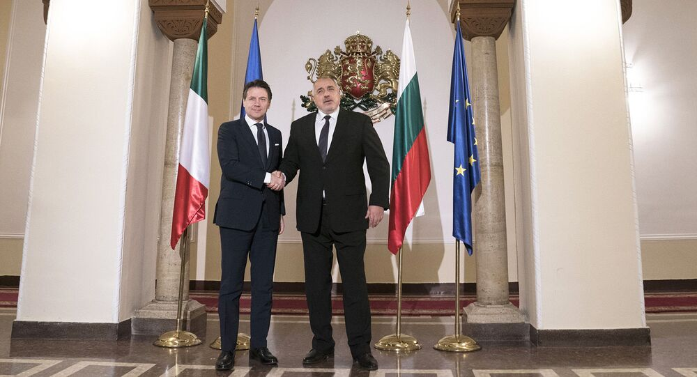 Il Presidente del Consiglio, Giuseppe Conte, incontra il Primo Ministro della Repubblica di Bulgaria, Boyko Borissov, presso il Palazzo del Presidente del Consiglio dei Ministri della Repubblica di Bulgaria.