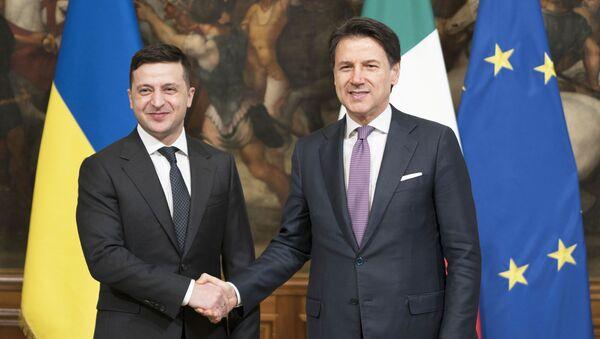 Il Presidente del Consiglio, Giuseppe Conte, riceve a Palazzo Chigi il Presidente dell'Ucraina, Volodymyr Zelensky - Sputnik Italia