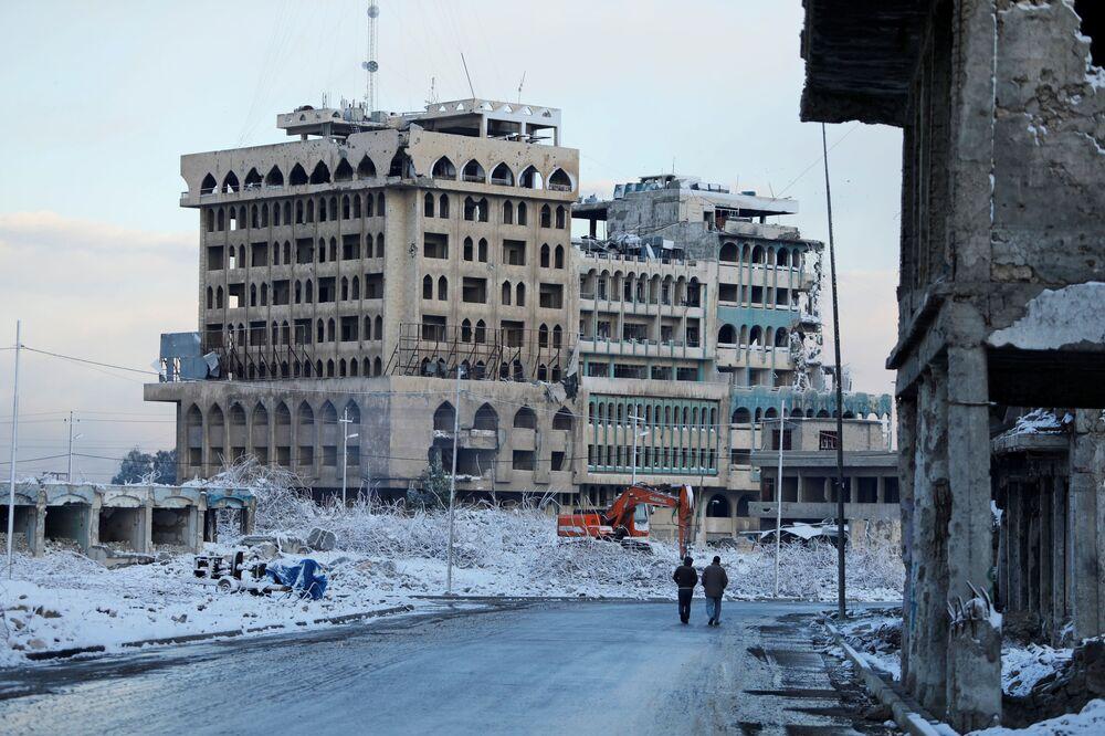 Nevicata nella città vecchia di Mosul, Iraq