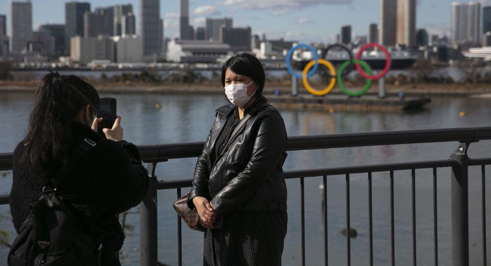 Turisti con le mascherine a Tokyo, Giappone