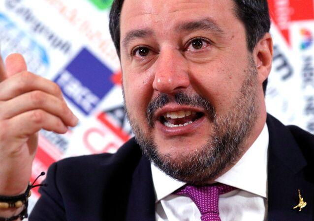 Matteo Salvini alla conferenza stampa presso la sede dell'Associazione della Stampa Estera in Italia