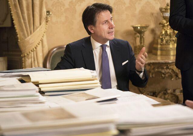 Palazzo Chigi, 13/02/2020 - Il Presidente Conte prima della conferenza stampa al termine della riunione del Consiglio dei Ministri.