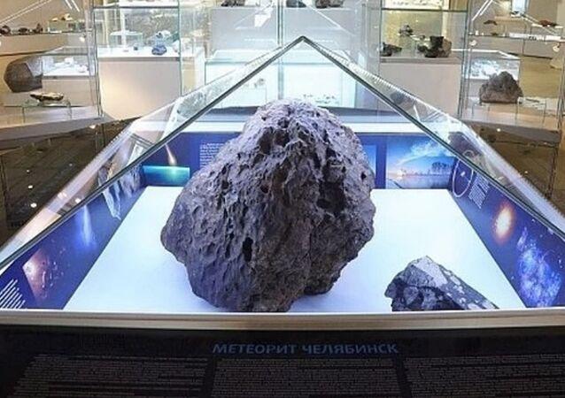 Frammento del meteorite al museo di Chelyabinsk